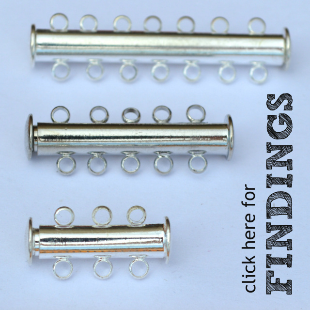 Beading and jewelry making findings. Shown are magnetic sliding clasps.