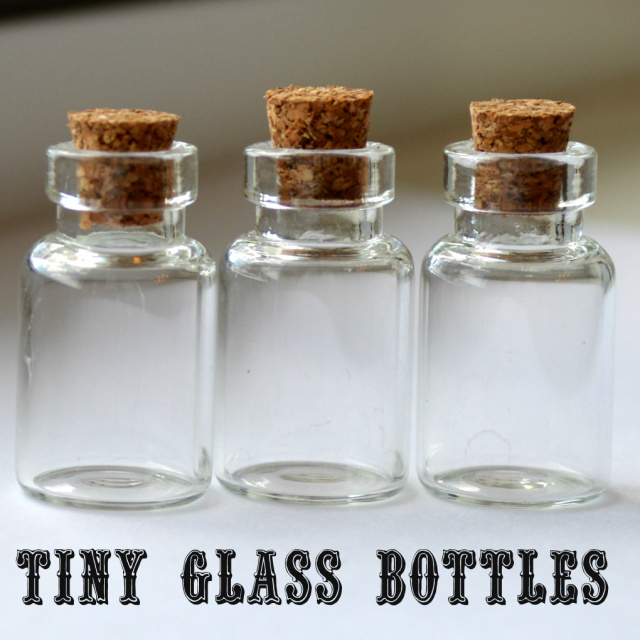 Tiny glass bottles for jewelry making