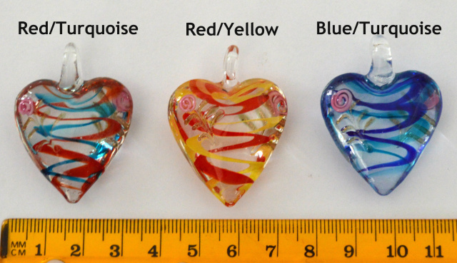 Pendants lamp work swirls glass heart pendant your choice from 189 mozeypictures Images