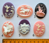 Resin Cameo Cabochons, 40x30mm, choice of design