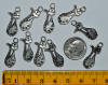Sitting Pretty Cat Charms, Antique Silver - Pack of 10