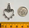 Chandelier Heart Finding, 31x21mm, Antique Silver, pack of 10
