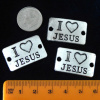 I Love Jesus Links, Horizontal, Antique Silver, Pack of 3