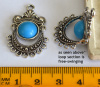 Antique Silver Links W/Blue Resin Cabs (free-swinging), 2 pieces