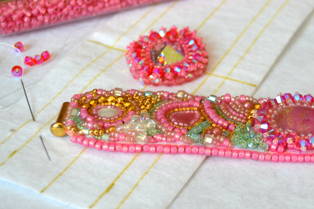 bead embroidered cuff bracelet, in progress, done on Lacy's Stiff Stuff premium beading foundation or substrate.
