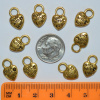 "Heart ""Made with Love"" Charms - PACK OF 10 - Antique Gold"