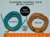 Cowhide Leather Cord, 2mm or 3mm Round, choice of 3 colors