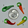 Hand-Blown Glass Chile Peppers - Small - 21x8mm, pack of 12, choice of color!