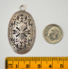 Scroll/Cut-Out Antique Silver Oval Pendant