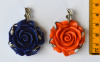 Resin Rose Pendant, 47x35mm, choice of color